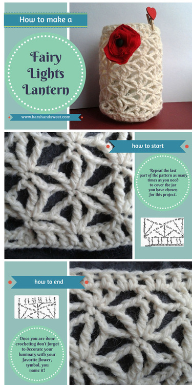 Fairy lights lantern tutorial: crochet a lace cover for your lantern. Merry Christmas from Harsh and Sweet!